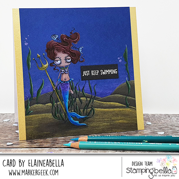 Stamping Bella Oddball Mermaid Scene Card - Coloured Pencil